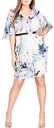 City Chic Jungle Faux Wrap Dress