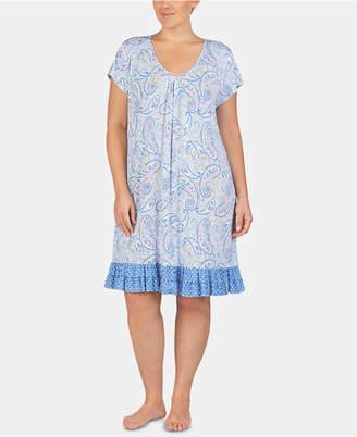 0f21293a96 Ellen Tracy Plus Size Printed Ruffled Hem Knit Chemise Nightgown