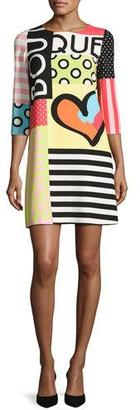 Boutique Moschino 3/4-Sleeve Mixed-Print Shift Dress, Multi $625 thestylecure.com