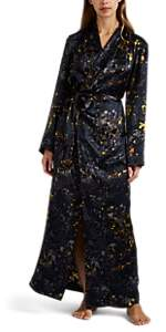 Raven & Sparrow by Stephanie Seymour Women's Jean Floral Silk Robe - Navy