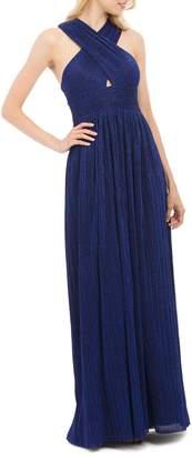 Nicole Miller New York Cross-Front Metallic Plisse Gown