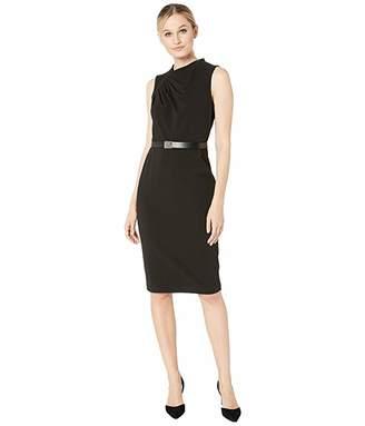 Calvin Klein Ruched Bodice Belted Shift Dress with Logo Belt