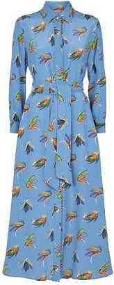 Max Mara Feather Print Tie-Waist Dress