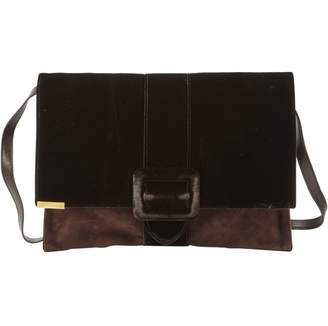 Blumarine Brown Velvet Clutch Bag
