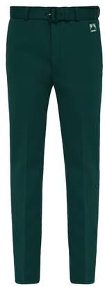Prada Belted Stretch Twill Straight Leg Trousers - Mens - Green