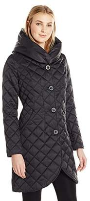 Lark & Ro Women's Quilted Shawl Collar Tulip Jacket with Hood