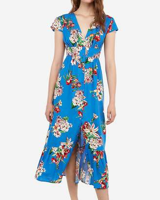 Express Floral Button Front V-Neck Maxi Dress
