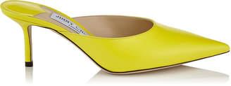 Jimmy Choo RAV 65 Fluorescent Yellow Liquid Leather Mule Pump