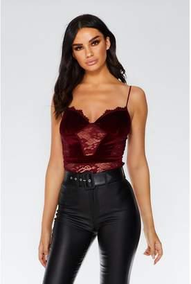 Quiz Berry Lace Velvet Bodysuit