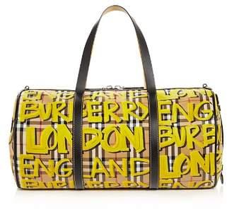 Burberry Graffiti Print Vintage Check Medium Duffel Bag