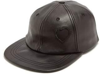 Saint Laurent Heart Detail Leather Cap - Womens - Black
