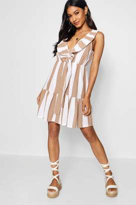 boohoo Wide Stripe Knot Front Tea Dress