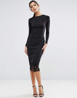 Asos DESIGN Pencil Skirt in Scuba with Lace Hem