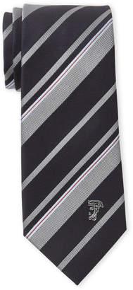 Versace Black & Grey Stripe Silk Tie
