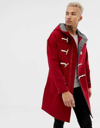 Pull&Bear wool coat with toggles in red