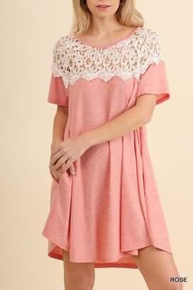 Umgee USA Pink Crochet Dress
