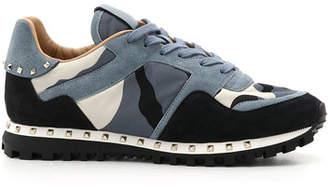 Valentino Men's Rockrunner Camo Leather Sneakers, Black/Blue