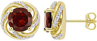 QVC Sterling & 14K 4.30 cttw Garnet & White Topaz Stud Earrings