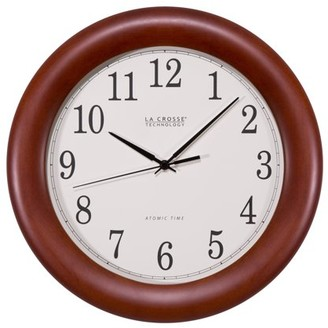 La Crosse Technology WT-3122A-INT 12.5 Inch Wood Veneer Atomic Analog Clock