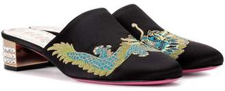 Gucci Embroidered satin slippers