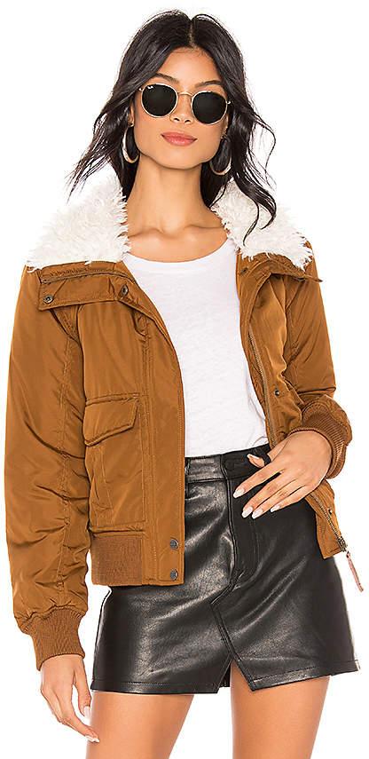 Aviator Flight Jacket With Faux Fur Collar