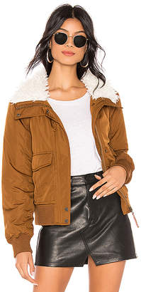 Sanctuary Aviator Flight Jacket With Faux Fur Collar
