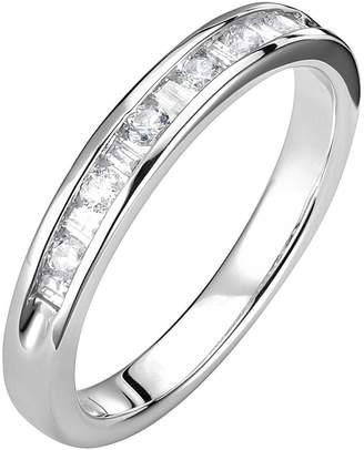 Love DIAMOND 9ct White Gold 25 Point Baguette & Round Cut Diamond Ring