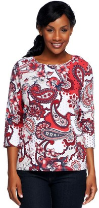 Denim & Co. Perfect Jersey 3/4 Sleeve Paisley Print T-shirt
