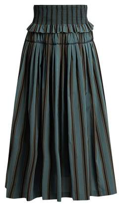 Brock Collection Sibylle Striped Taffeta Skirt - Womens - Blue Stripe