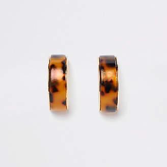 River Island Gold tone leopard print chunky hoop earrings