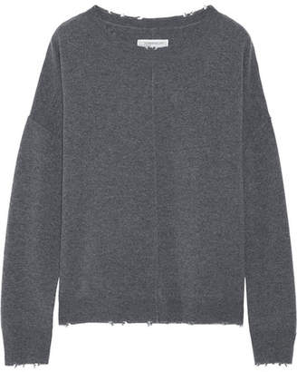 Current/Elliott - The Destroyed Knit Wool And Cashmere-blend Sweater - Dark gray $300 thestylecure.com