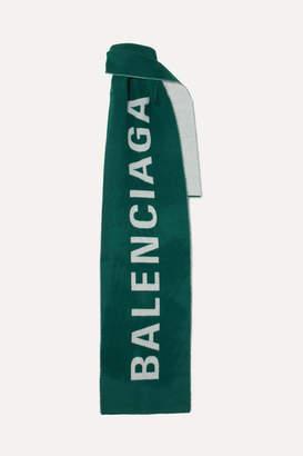 Balenciaga Intarsia Wool Scarf - Green
