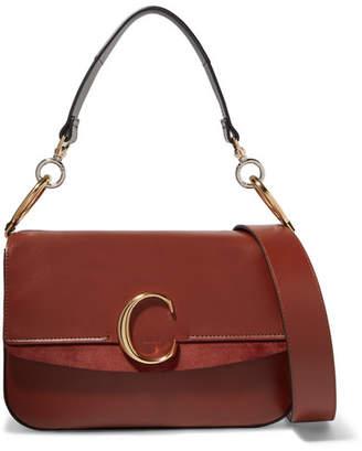 Chloé C Medium Suede-trimmed Leather Shoulder Bag - Brown