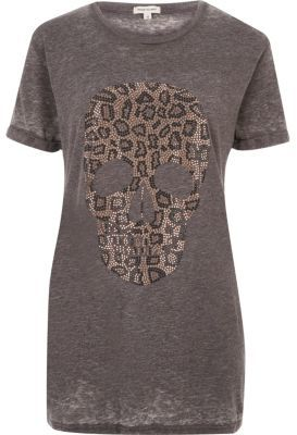 River Island Womens Grey leopard skull boyfriend T-shirt