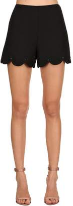 Valentino Scalloped Studded Wool Silk Crepe Shorts