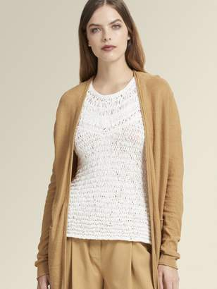 DKNY Linen Open-Front High-Low Cardigan