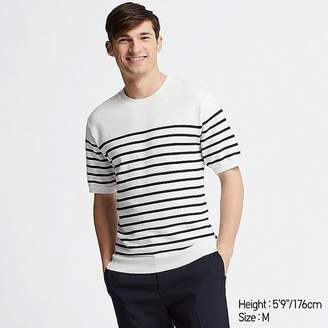 Uniqlo Men's Washable Striped Crew Neck Short-sleeve Sweater