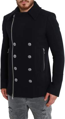 Balmain Wool Short Coat With Logo Buttons Ad Zipper