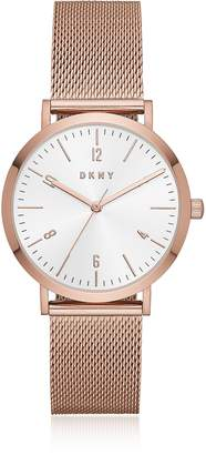 DKNY Minetta Rose Gold Tone Stainless Steel Mesh Women's Watch