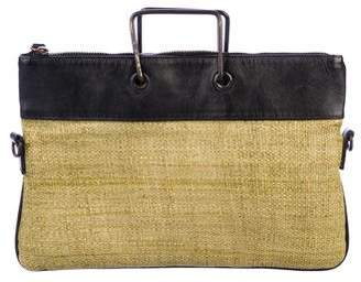Burberry Leather-Trimmed Woven Satchel