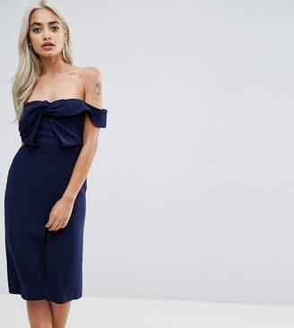 True Decadence Petite Premium Bardot Scuba Pencil Dress With Knot Front Detail