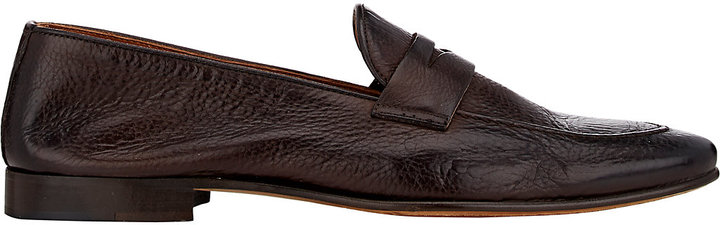 Barneys New York Barneys New York BARNEYS NEW YORK MEN'S APRON-TOE PENNY LOAFERS-DARK BROWN SIZE 11.5 M
