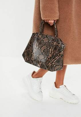 At Missguided Brown Snake Print Bag