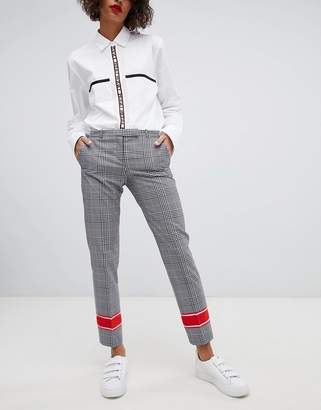 HUGO Tailored Check Pants with Contrast Stripe