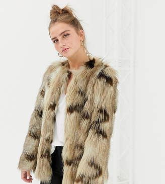 New Look faux fur jacket in brown pattern