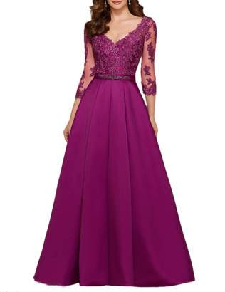 Rieshaneea Evening Dresses 3/4 Sleeve Satin Lace Formal Prom Gown Custom