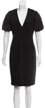 Burberry V-Neck Sheath Dress Black V-Neck Sheath Dress