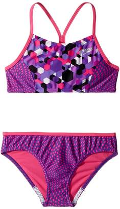 Speedo Kids Diamond Geo Splice Two-Piece Swimsuit Girl's Swimsuits One Piece