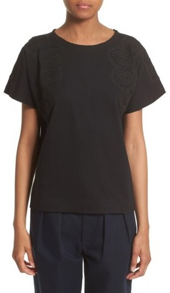 Women's Tricot Comme Des Garcons Embroidered Tee $360 thestylecure.com