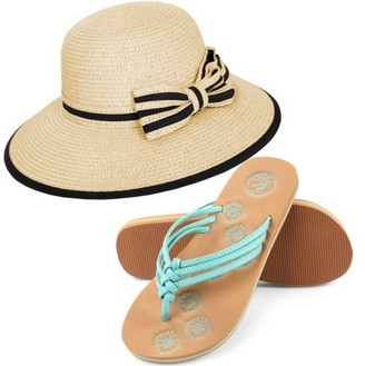fd34995c08a6c7 at Walmart.com · AERUSI Women s Panama Styled Woven Straw Hat and Foam Flip  Flop Sandals Set US Women s Shoe